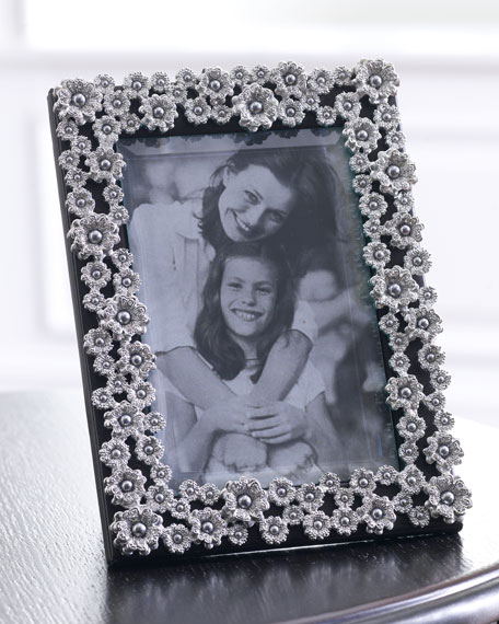 "8"" x 10"" Platinum-Plated Pearl Flower Frame"