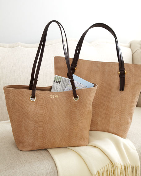 """Teddi"" Python-Embossed Tote Bag, Plain"