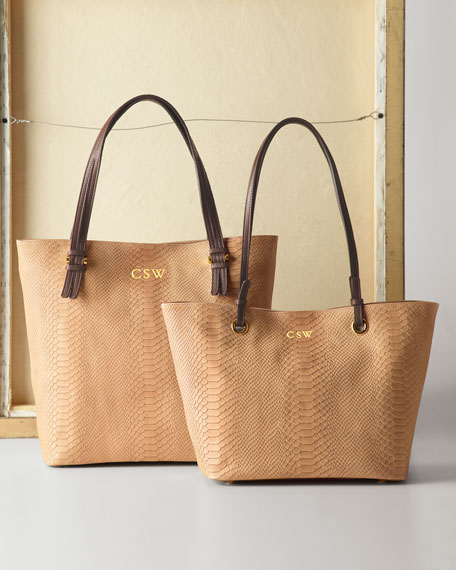 """Alexa"" Python-Embossed Tote Bag, Plain"