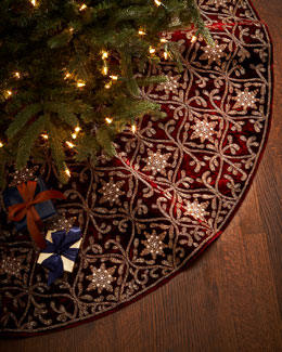 Sudha Pennathur Burgundy & Gold Christmas Tree Skirt