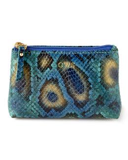 Blue Python-Print Jewelry Pouch