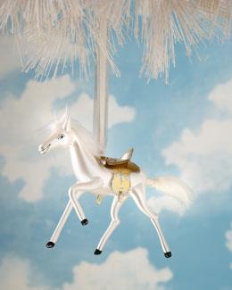 De Carlini White Horse Christmas Ornament