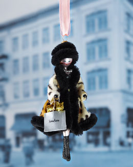 De Carlini Lady in Faux Leopard Coat Christmas Ornament