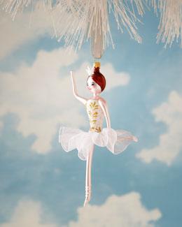 De Carlini Ballerina Glass Christmas Ornament