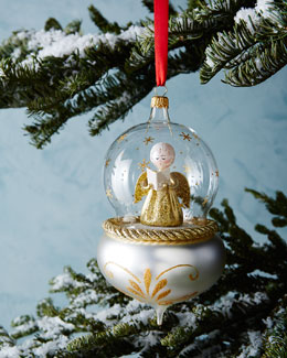 De Carlini Angel in Globe Christmas Ornament