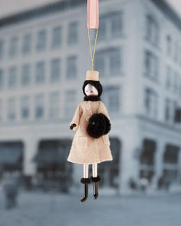 De Carlini Lady in Cream Coat Christmas Ornament