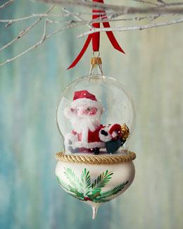 De Carlini Santa in Globe Christmas Ornament