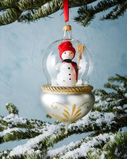 De Carlini Snowman in Globe Christmas Ornament