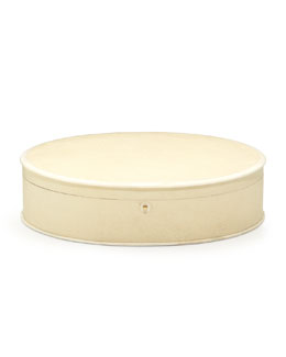 Ovalia Large Shagreen Jewelry Box, Ivory