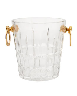 Cartier Paris Vintage Cut Crystal & Gilt Bronze Ice Bucket, c. 1960s