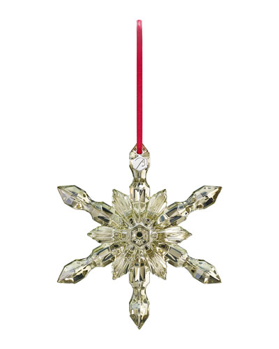 Golden Crystal Snowflake Christmas Ornament
