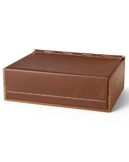 Winston Saddle Leather & Teak Wood Box