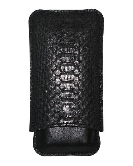 Python & Leather Cigar Holder, Black