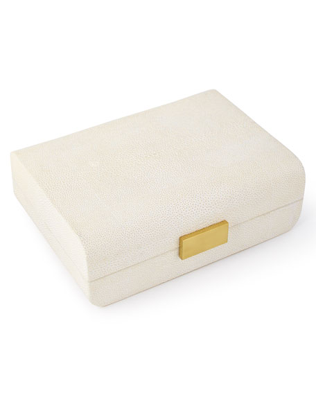 AERIN Cream Faux-Shagreen Small Decorative Box