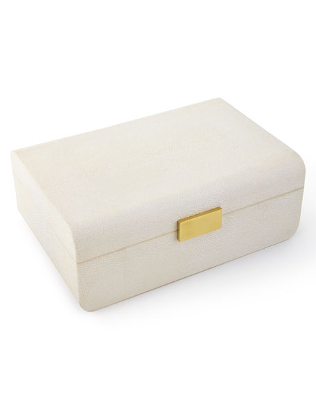 Cream Faux-Shagreen Large Decorative Box