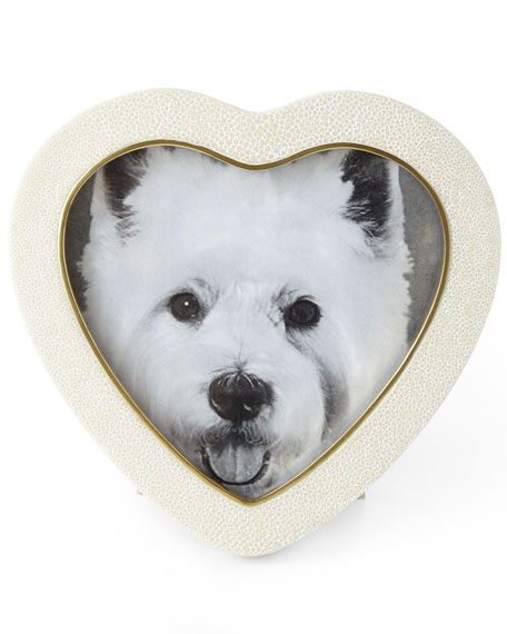 Cream Shagreen Heart Frame