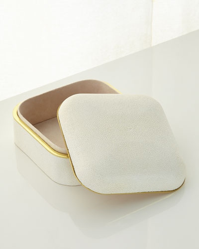 Cream Shagreen Square Box
