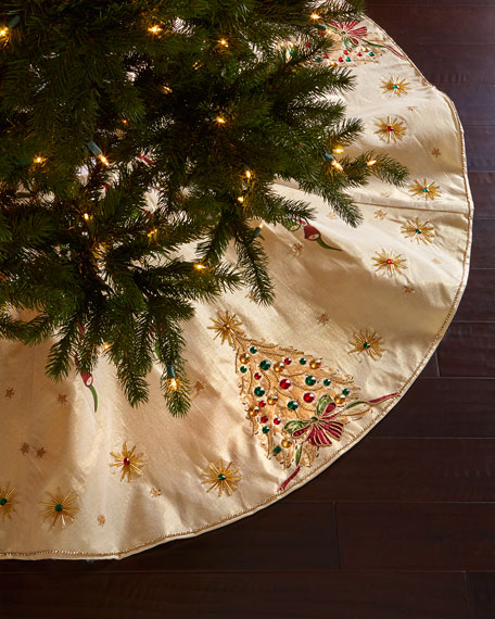 kim seybert retro christmas tree skirt. Black Bedroom Furniture Sets. Home Design Ideas