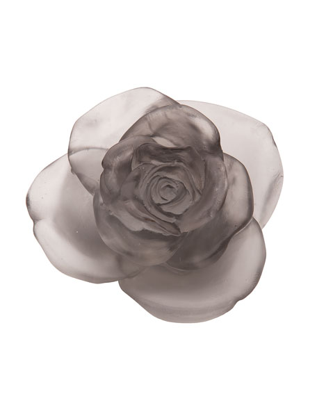 Daum Gray Rose Passion Flower Sculpture