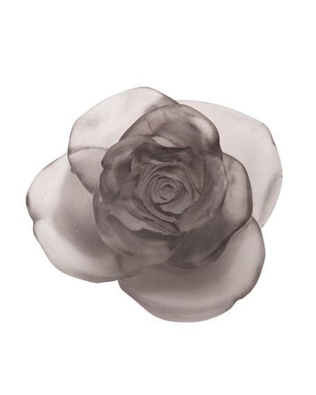Daum Gray Rose Passion Flower Sculpture
