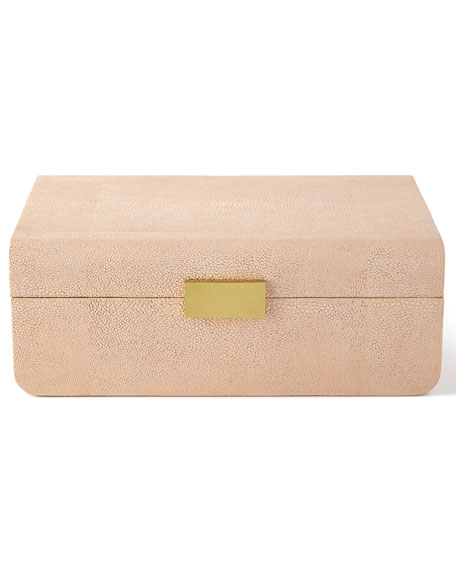 AERIN Large Blush Modern Faux-Shagreen Decorative Box