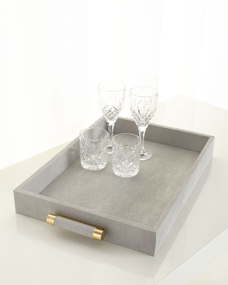 AERIN Classic Dove Faux-Shagreen Serving Tray