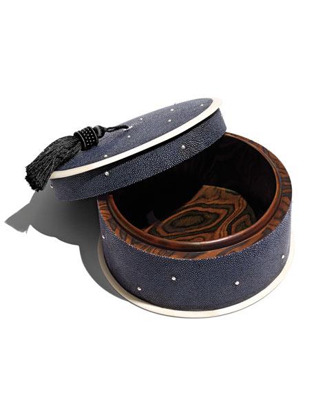 Constellation Round Box with Tassel, Navy