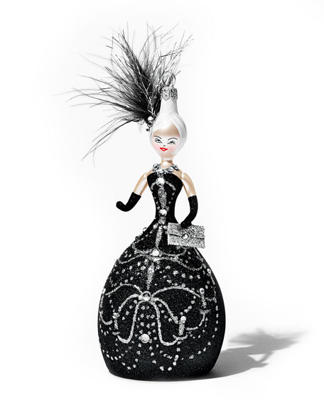 Linda Holiday Ornament, Black