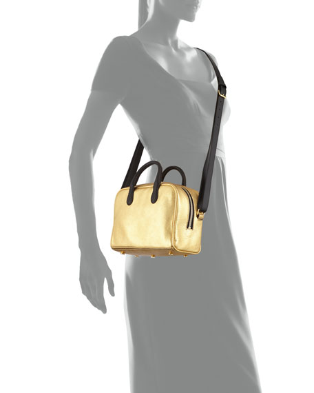 Metallic Leather Satchel Bag, Gold