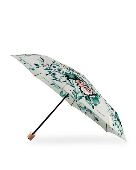 Trafalgar Peony Rose Print Folding Umbrella, Emerald