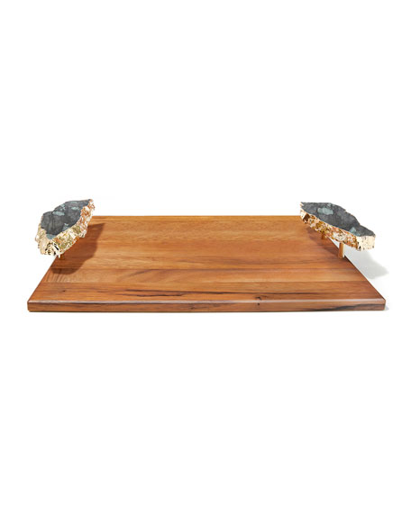 Small Bosque Tray with Emerald Handles