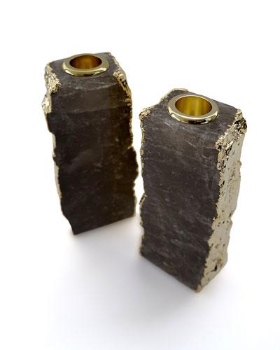 Dourado Crystal & Gold Candlestick Holders  Set of 2