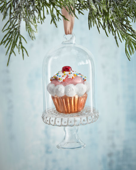 Cupcake in Glass Dome Christmas Ornament
