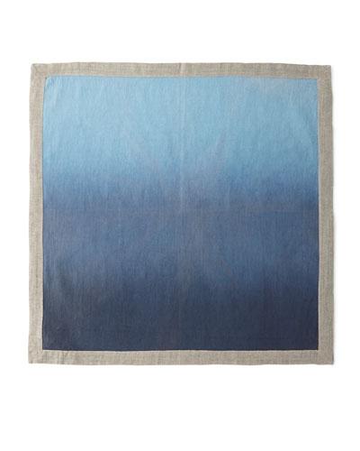 Dip-Dye Linen Napkin  Navy/Blue