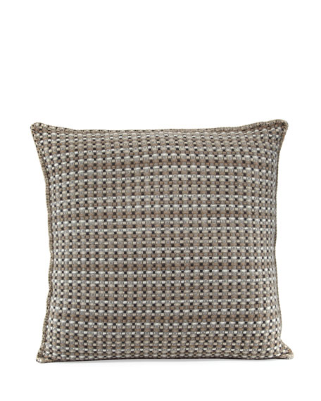 "Cashmere Basketweave Pillow, 23.6"" Square"