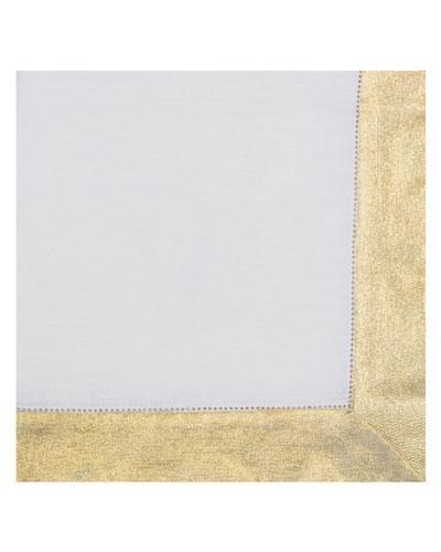 Shimmer-Border Linen Napkin, Gold