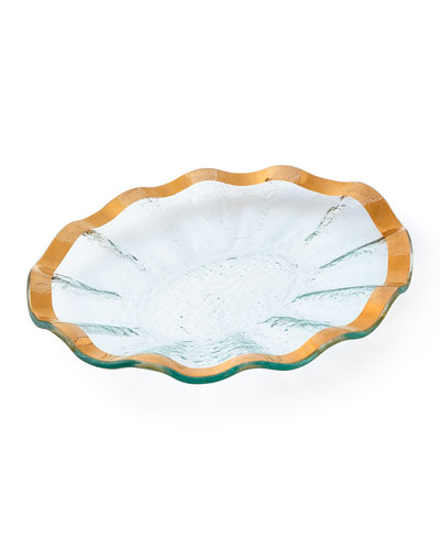 Golden Small Oval Tray  Yellow/Green