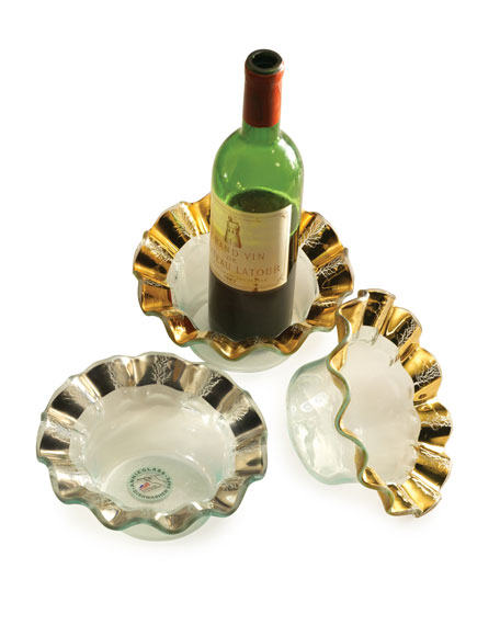 Annieglass Ruffle Gold Wine Coaster
