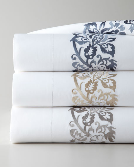 SFERRA Full/Queen 406 Thread Count Plumes Embroidered Flat