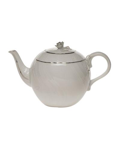 Platinum Edge Teapot with Rose