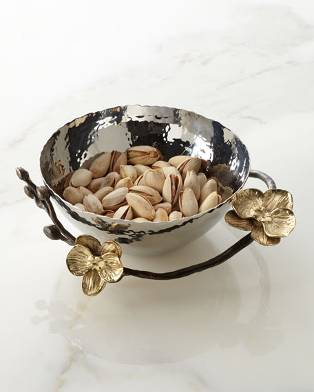 Gold Orchid Nut Bowl