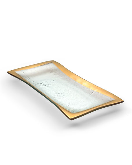 Annieglass Roman Antique Gold Olive Tray