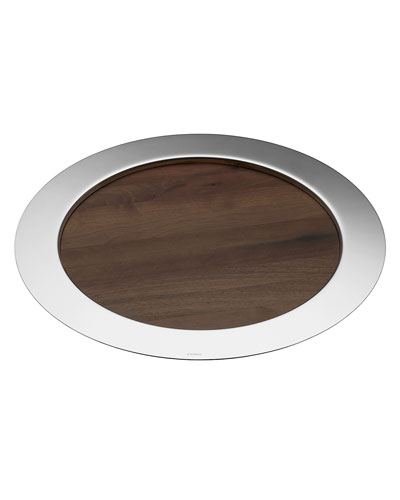 Oh de Christofle Round Tray with Wood Insert