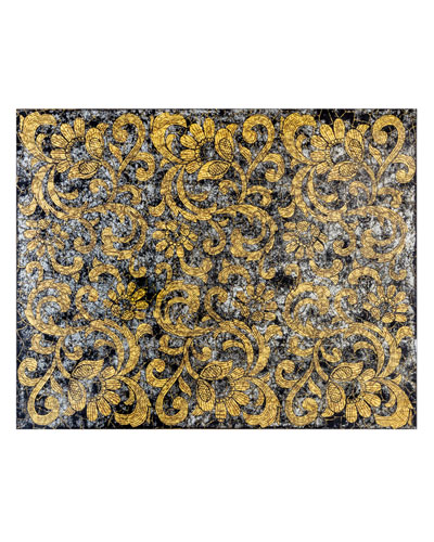 Mirror Glass Place Mat with 24K Gold Leaves