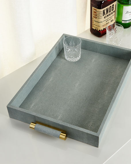 Mist Classic Faux-Shagreen Serving Tray