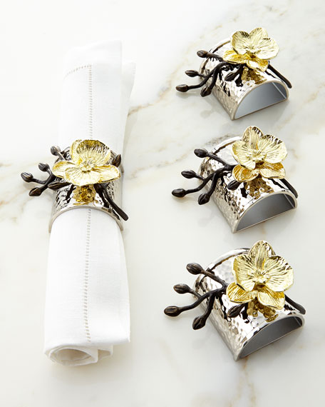 Four Gold Orchid Napkin Rings