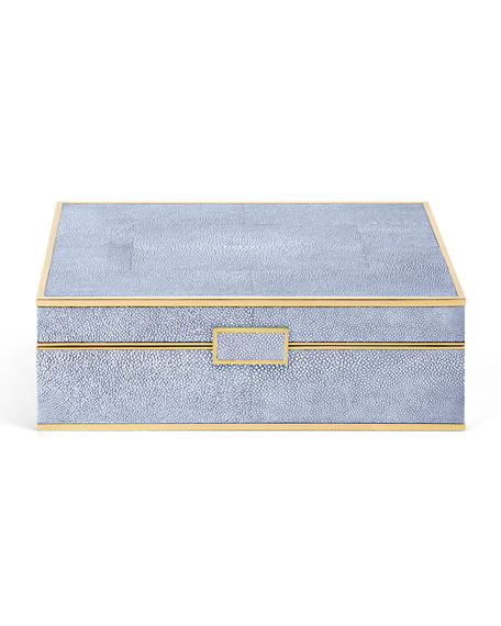 Embossed Faux-Shagreen Jewelry Box