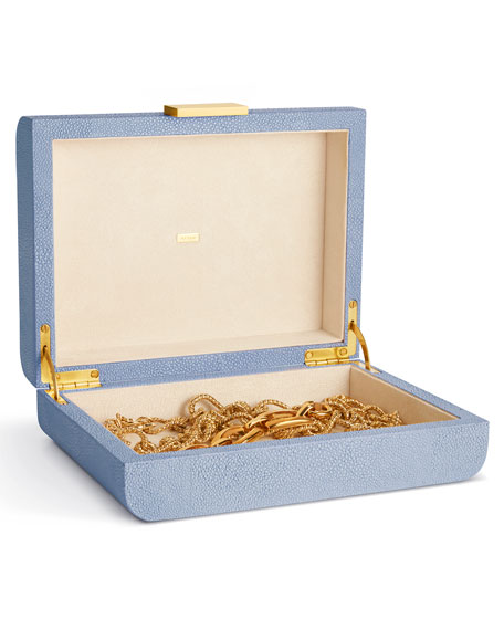 Small Embossed-Shagreen Jewelry Box, Blue