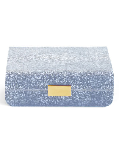 Small Embossed-Shagreen Jewelry Box  Blue