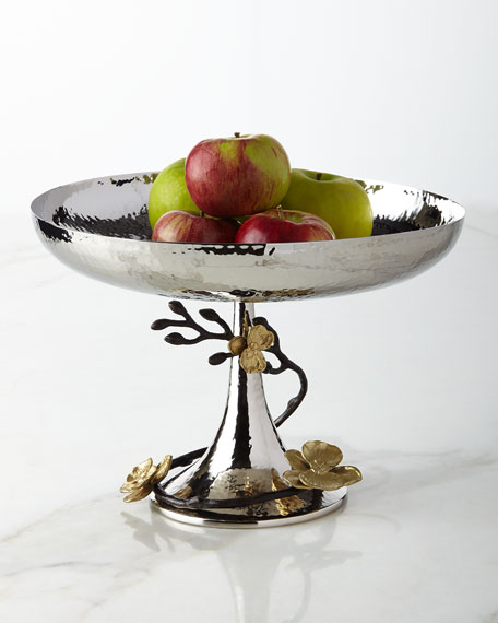 Gold Orchid Footed Centerpiece Bowl